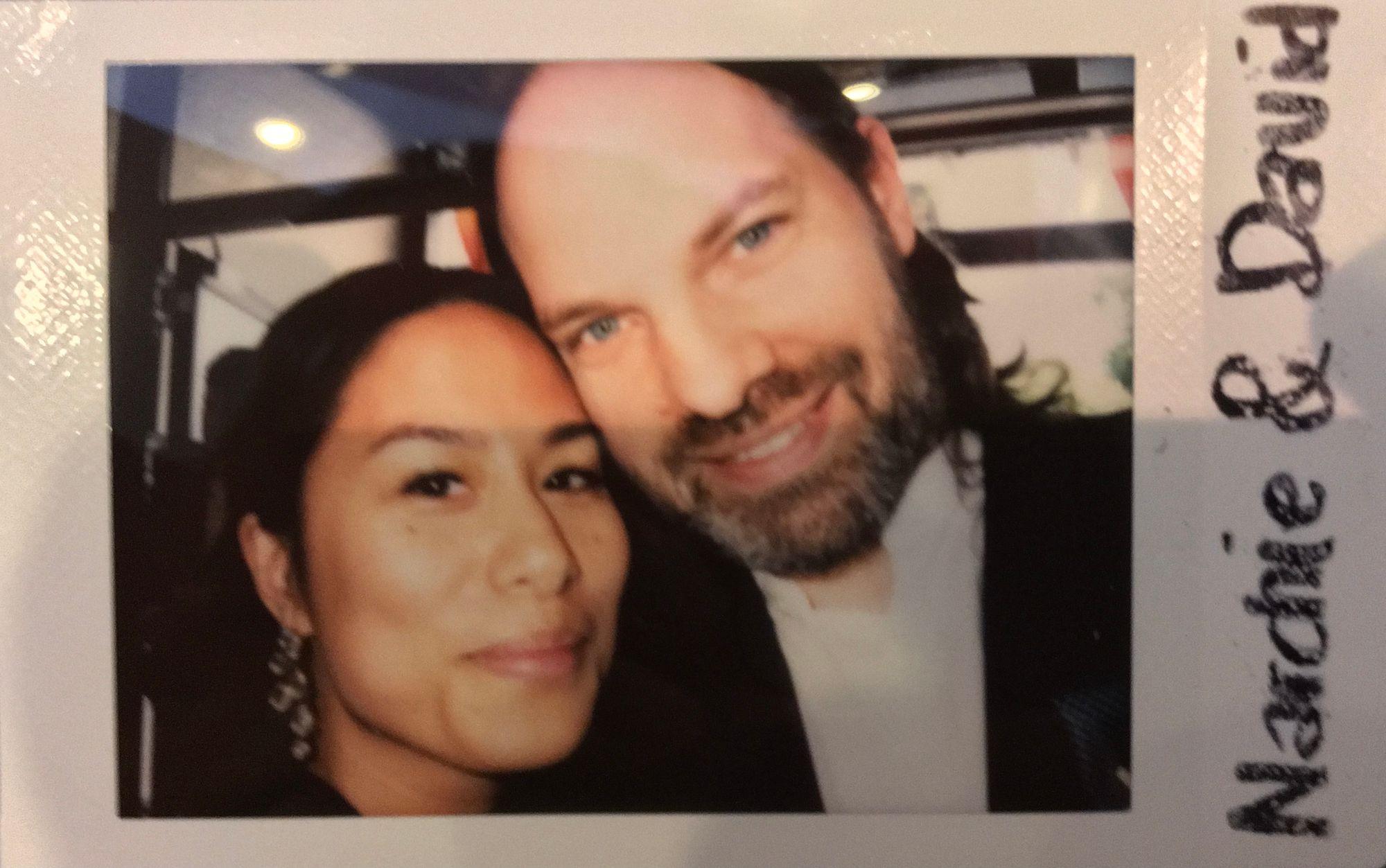 Polaroid photo of us at a wedding.