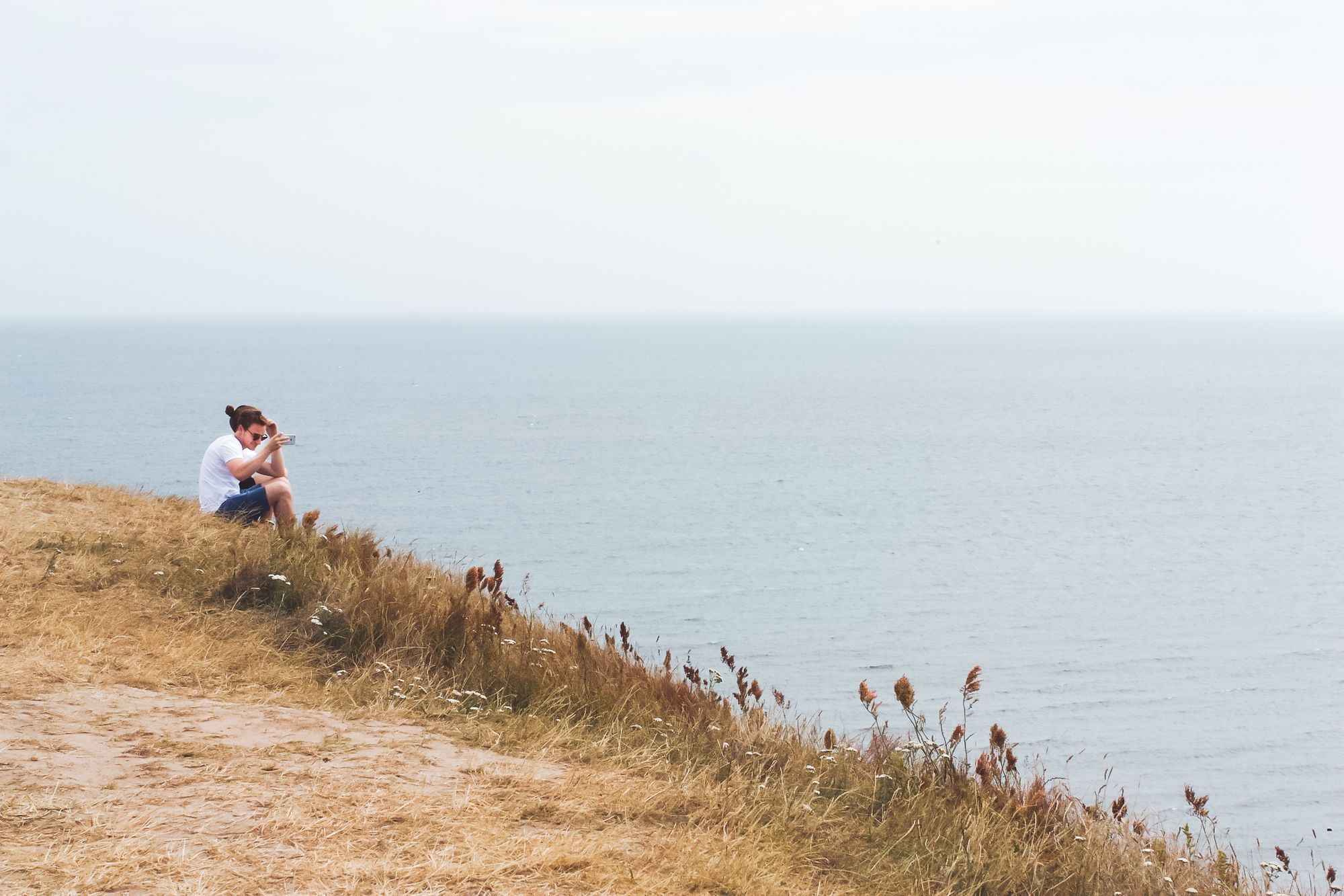 Picturesque view of the grassy hill over the ocean.